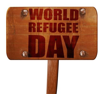 world refugee day, 3D rendering, text on direction sign Reklamní fotografie