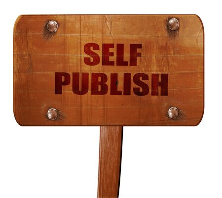 self publishing, 3D rendering, text on direction sign