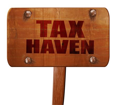 exile: tax haven, 3D rendering, text on direction sign