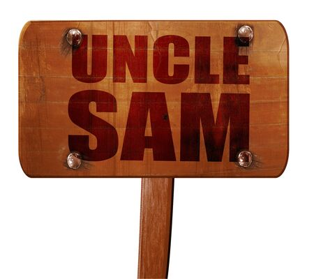 sam: uncle sam, 3D rendering, text on direction sign