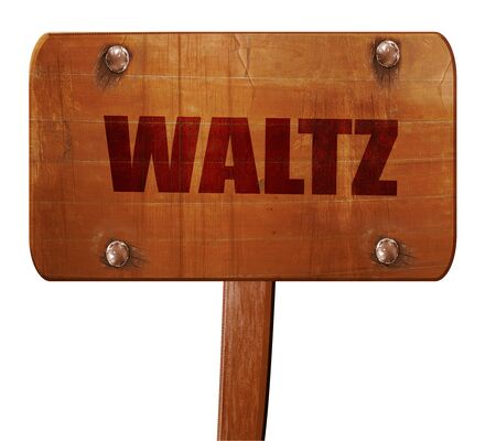 3d dance: waltz dance, 3D rendering, text on direction sign