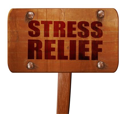 stress relief: stress relief, 3D rendering, text on direction sign