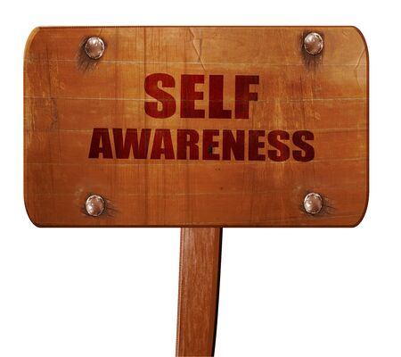 self worth: self awareness, 3D rendering, text on direction sign