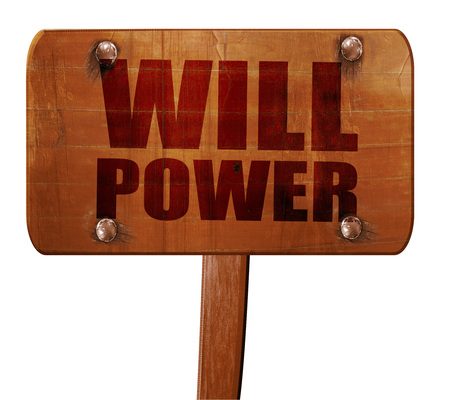 willpower: willpower, 3D rendering, text on direction sign Stock Photo