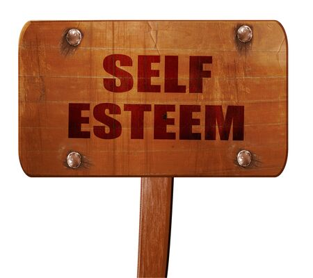 self worth: self esteem, 3D rendering, text on direction sign Stock Photo