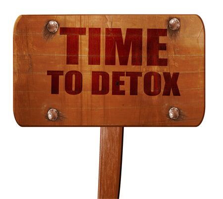 detoxing: time to detox, 3D rendering, text on direction sign