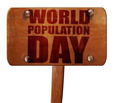 observance: world population day, 3D rendering, text on direction sign