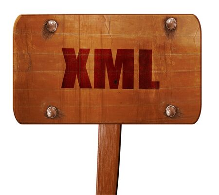 xml: xml, 3D rendering, text on direction sign Stock Photo