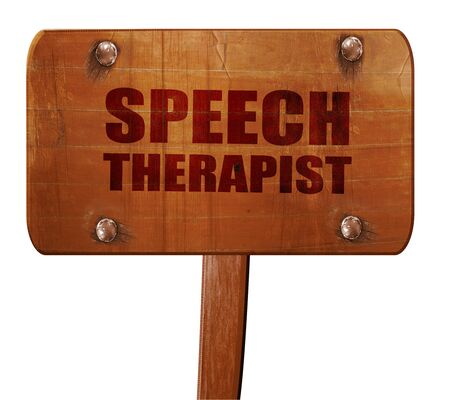 capable of learning: speech therapist, 3D rendering, text on direction sign Stock Photo