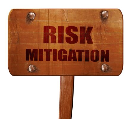 mitigation: Risk mitigation sign, 3D rendering, text on wooden sign