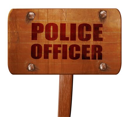 lightbar: police officer, 3D rendering, text on wooden sign