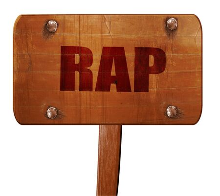 music 3d: rap music, 3D rendering, text on direction sign