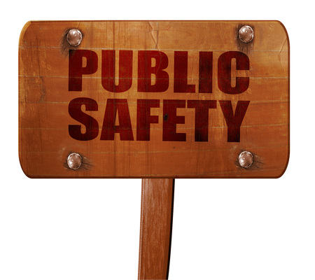 public safety: public safety, 3D rendering, text on direction sign