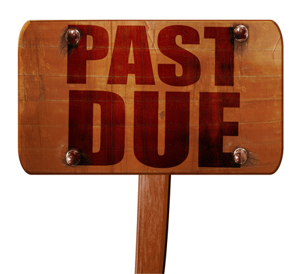the past: past due, 3D rendering, text on direction sign