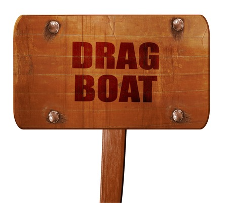 3d boat: drag boat sign with some soft smooth lines, 3D rendering, text on direction sign