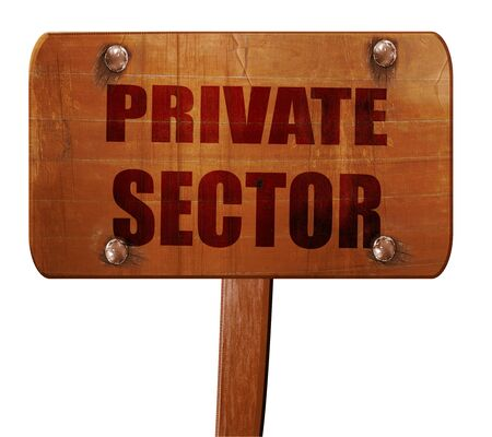 private domain: private sector, 3D rendering, text on wooden sign Stock Photo