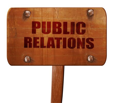 relaciones publicas: public relations, 3D rendering, text on wooden sign