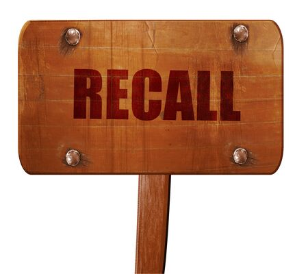 dissatisfaction: recall, 3D rendering, text on wooden sign