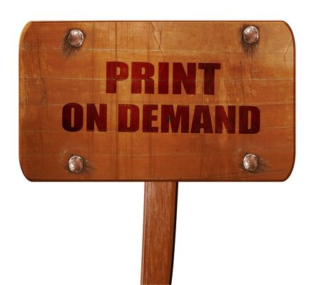print on demand, 3D rendering, text on direction sign