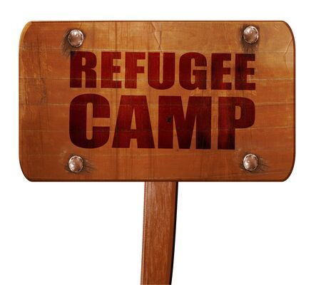 syrian civil war: refugee camp, 3D rendering, text on direction sign Stock Photo