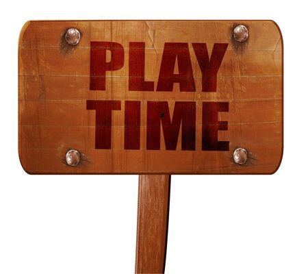 play time: play time, 3D rendering, text on direction sign