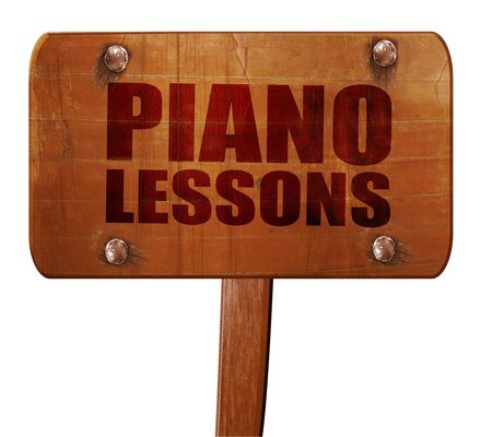 lessons: piano lessons, 3D rendering, text on direction sign