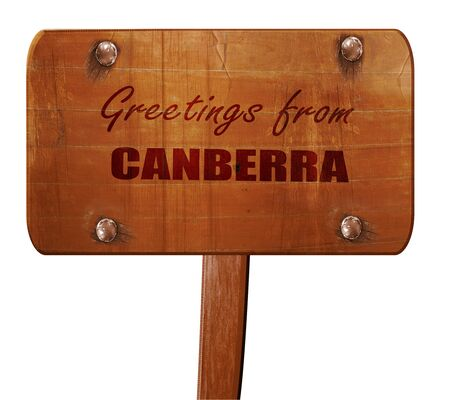 Canberra: Greetings from canberra with some smooth lines, 3D rendering, text on direction sign Stock Photo