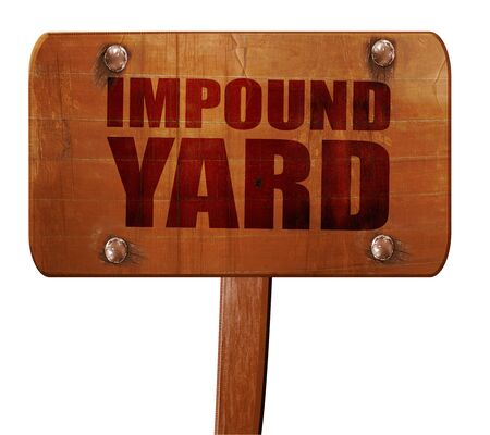 impound yard, 3D rendering, text on direction sign Stock Photo