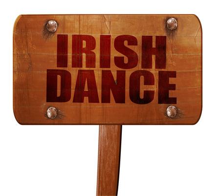 triskel: irish dance, 3D rendering, text on direction sign