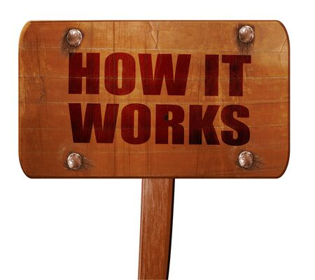 how it works, 3D rendering, text on direction sign