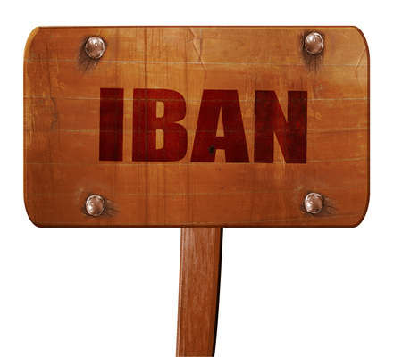 international bank account number: iban, 3D rendering, text on direction sign