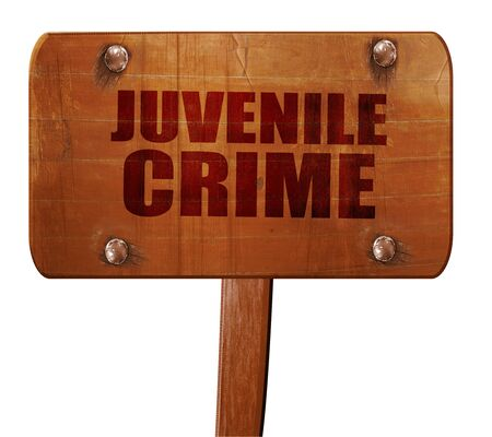 handcuffed: juvenile crime, 3D rendering, text on direction sign