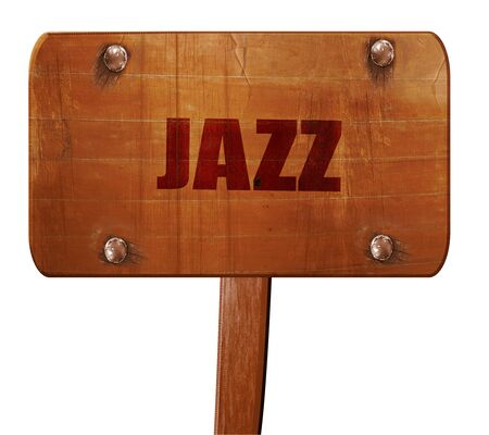 music 3d: jazz music, 3D rendering, text on direction sign