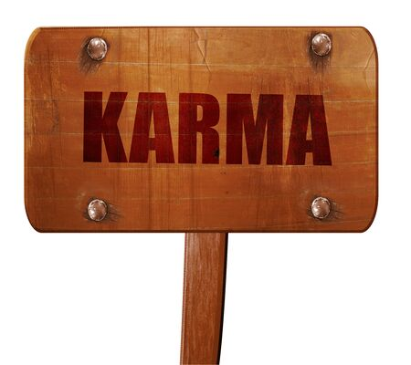 karma: karma, 3D rendering, text on direction sign Stock Photo