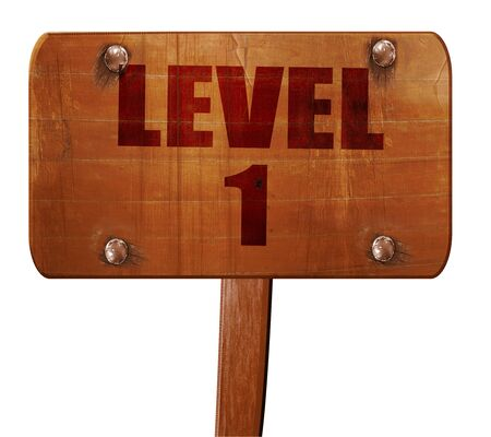 xp: level 1, 3D rendering, text on direction sign Stock Photo