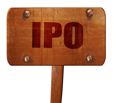 initial public offerings: ipo, 3D rendering, text on direction sign Stock Photo