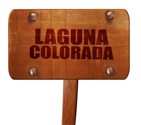 laguna: laguna colorada, 3D rendering, text on direction sign