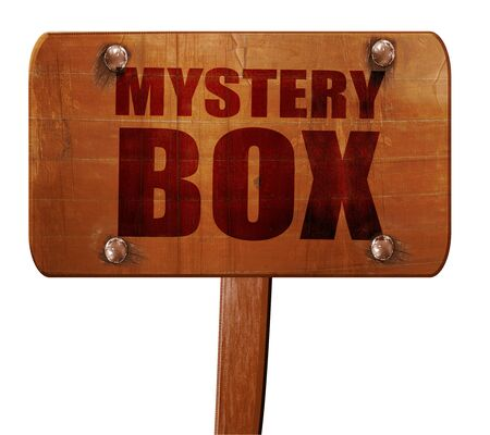 secret code: mystery box, 3D rendering, text on direction sign