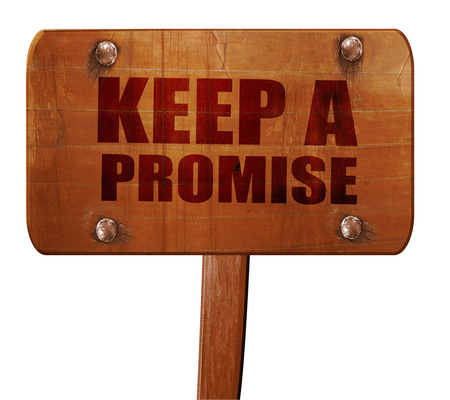 houdt een belofte, 3D-rendering, tekst op richting teken Stockfoto - 68928782