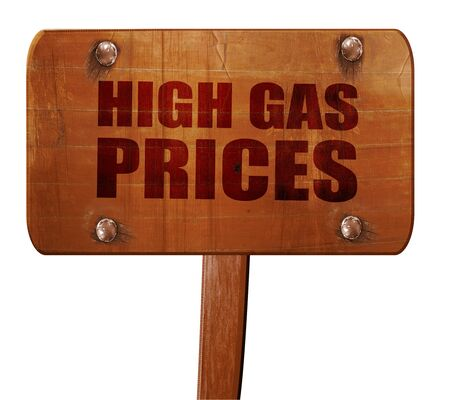 gas prices: high gas prices, 3D rendering, text on direction sign Stock Photo