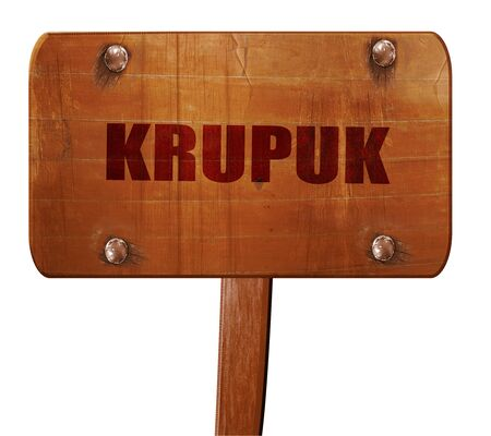 krupuk, 3D rendering, text on direction sign