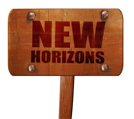 new horizons: new horizons, 3D rendering, text on direction sign Stock Photo