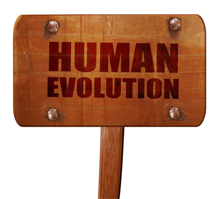 human evolution: human evolution, 3D rendering, text on direction sign
