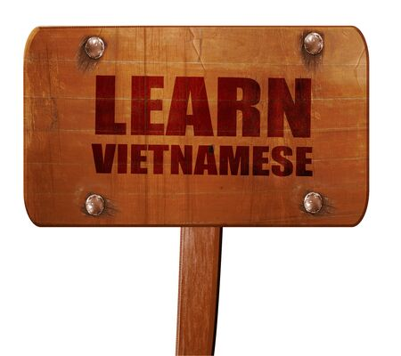 learn vietnamese, 3D rendering, text on wooden sign