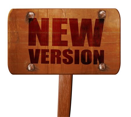 version: new version, 3D rendering, text on wooden sign Stock Photo