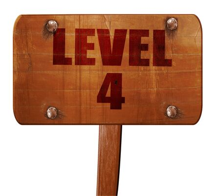 xp: level 4, 3D rendering, text on direction sign Stock Photo