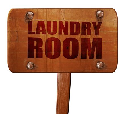 laundry room: laundry room, 3D rendering, text on direction sign