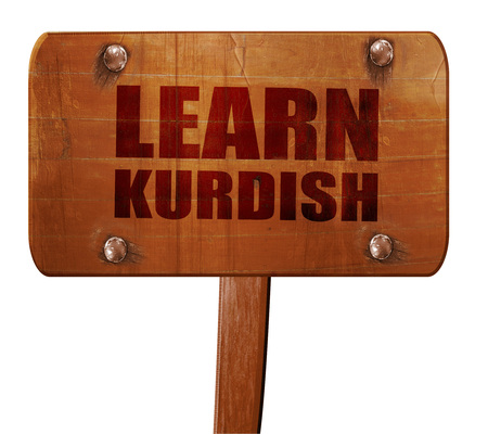learn kurdish, 3D rendering, text on direction sign