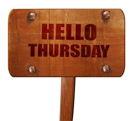 thursday: hello thursday, 3D rendering, text on direction sign