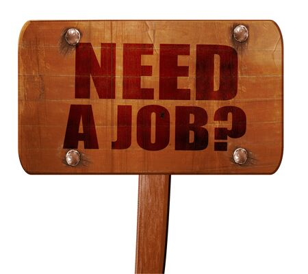 need direction: need a job?, 3D rendering, text on direction sign Stock Photo